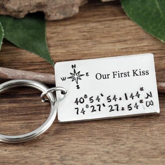 Our First Kiss, Coordinates Keychain, Gift for Him, Boyfriend Gift, Wedding Keepsake, Anniversary Gift, Valentines Day, Latitude Longitude
