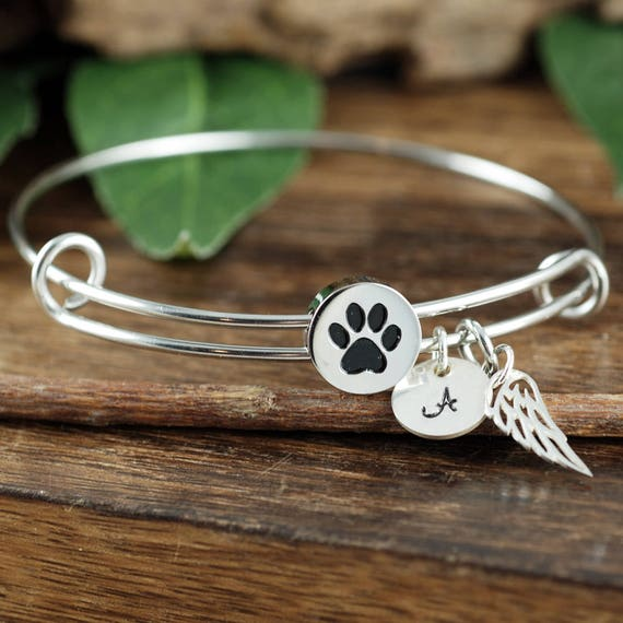 Personalized Pet Memorial Bracelet, Angel Wing Bracelet, Dog Paw Bangle Bracelet, Pet Loss Gift, Pet Memorial Gift, Memorial Bracelet