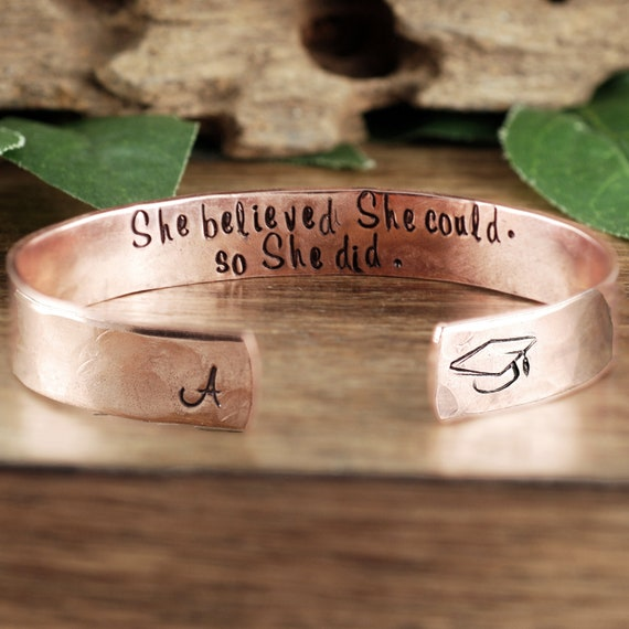 She believed she could so she did Bracelet, Gift for Her, Graduation Jewelry, Graduation Gift, Inspirational Bracelet, Large Cuff Bracelet