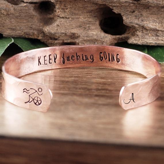 Triathlon Bracelet, Keep Going Bracelet, Triathlon Jewelry, Marathon Jewelry, Gifts for Runners, Triathlon Gifts, Personalized Bracelet