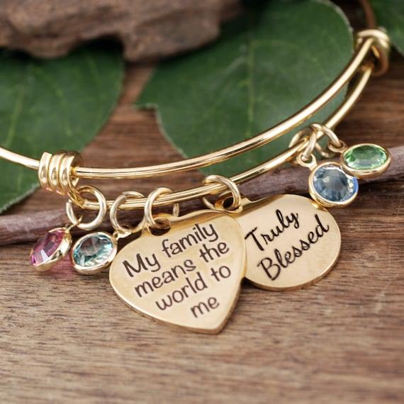 Custom Mom Bracelet, Birthstone Bracelet, Charm Bracelet, Family Bangle Bracelet, Grandma Bracelet, Gift for Grandma, Mother's Day Gift