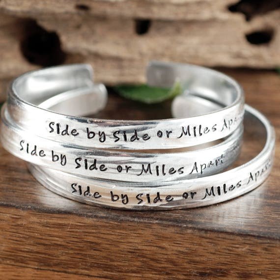 Side by Side or Miles Apart, Sisters Bracelet, Best Friend Jewelry, Secret Message Bracelet, Personalized Bracelet, Close at Heart Gift