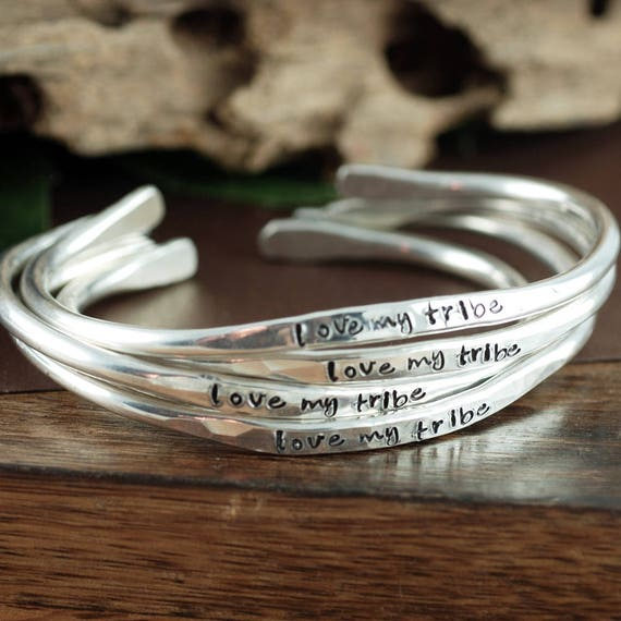 Love my Tribe Bracelet, Bride Tribe Cuff Bracelets, Wedding Gift, Mother's Bracelet, Mother's Jewelry, My Tribe, Gift for Mom, Mom Gifts