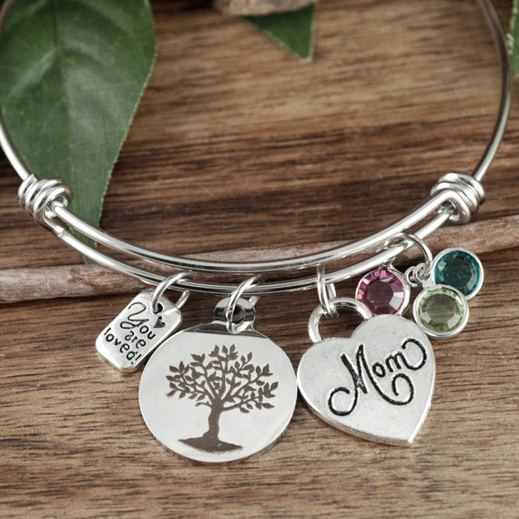 Personalized Mom Bracelet, Family Tree Bracelet for Mom, Gift for Mom, Mothers Bracelet, Mother's Gift, Gift for Mom, Charm Bracelet for Mom