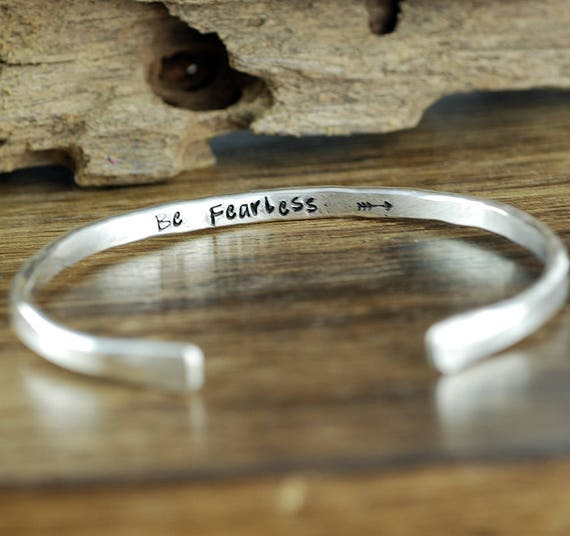 Be Fearless, Inspirational Cuff Bracelet, Personalized Bracelets, Custom Cuff Bracelets, Inspirational Bracelet, Motivational Bracelet