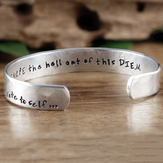 Note to Self Cuff Bracelet, Carpe Diem, Carpe the Hell out of this Diem, Inspirational Cuff, Motivational Jewelry, Gift for Her, BFF Gift