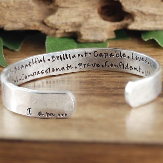 Positive Words Bracelet, I am Beautiful Bracelet, I am Jewelry, I am Bracelet, Inspirational Cuff, Positive Bracelet, Gift for Her