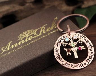 Grandmother Birthstone Keychain, Family Tree Keychain for Grandma, Birthstone Keychain, Grandma Keychain, Gift for Grandma, Mothers Day Gift