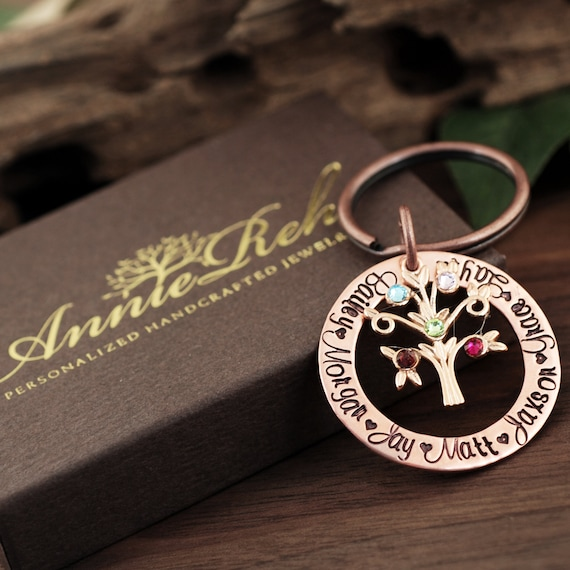 Grandmother Birthstone Keychain, Family Tree Keychain for Grandma, Birthstone Keychain, Grandma Keychain, Gift for Grandma, Mothers Day Gift