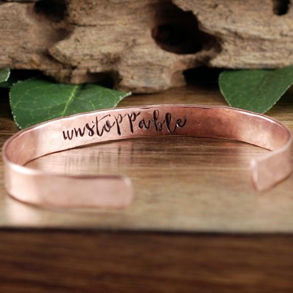 Unstoppable Bracelet, Inspirational Cuff Bracelet, Secret Message Bracelets, Personalized Cuff, Quote Bracelet, Quote Jewelry, Friend Gift