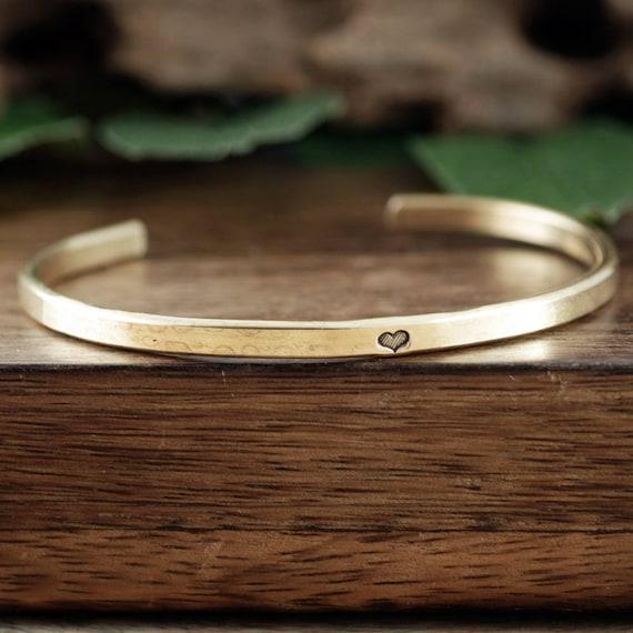Gold Heart Bracelet, Skinny cuffs, Cuff Bracelet, Inspirational Jewelry, Mantra Cuff Bracelet, Symbol Jewelry, Bohemian, Boho, Gift for Her