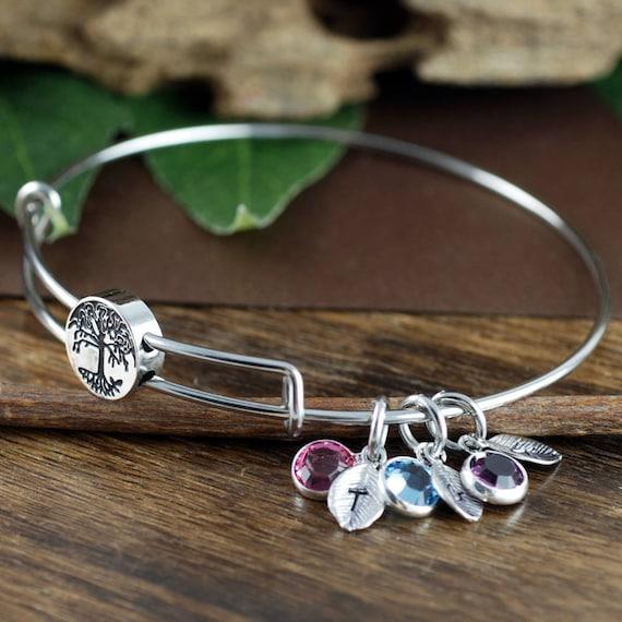 Silver Birthstone Bracelet for Grandma, Grandmother Bracelet Personalized, Tree of life Charm Bracelet, Gift from Grandkids, Gift for Mom