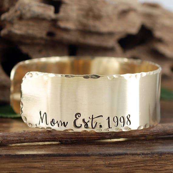 Mom Established Cuff Bracelet, Gift for Her, Mother Jewelry, Hand Stamped Cuff, Christmas Gift for Mom, Mother's Day Gift, Est Mom Gift