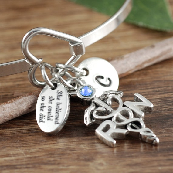 Personalized RN Bracelet, She Believed She Could Nurse Bracelet, RN Graduation Gift, Graduation Gift for Nurse, Gift for Nursing Student