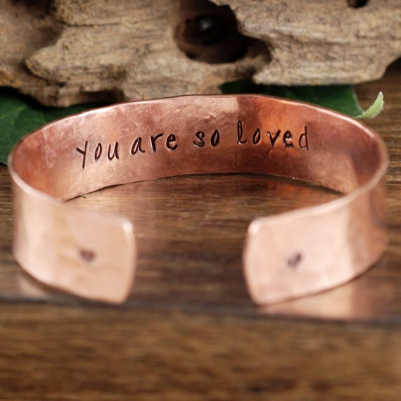 Gift for Mom, Personalized Cuff Bracelet, Inspirational Bracelet, Gift for Daughter, Custom Quote Bracelet, Gift for Her, You are Loved