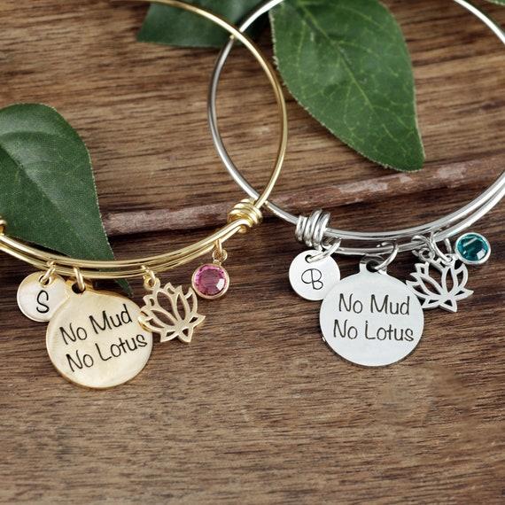 No Mud No Lotus Bracelet, Yoga Bracelet, Inspirational Bracelet, BoHo Jewelry, Personalized Bracelet, Zen Bracelet, Yoga Gift, Buddha Gift