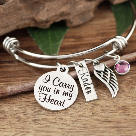 Personalized Memorial Bracelet, I Carry you in my Heart, Sympathy Gift, Remembrance Gift, Gold Bangle Bracelet, Loss of Loved One