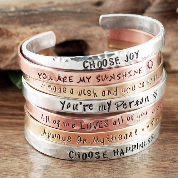 Inspirational Cuff Bracelets, Quote Bracelets for Women, Personalized Cuff Bracelet, Inspirational Jewelry, Positive Affirmations