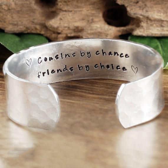 Custom Cousins Cuff Bracelet, Personalized Cousin Bracelet, Secret Message Bracelet, Gift for Cousin, Bracelet for Cousin, Cousins by Chance