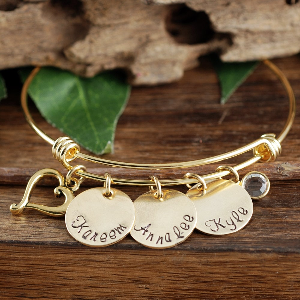 Name Charm Bracelet Personalized Gold Name Bracelet With Birthstone