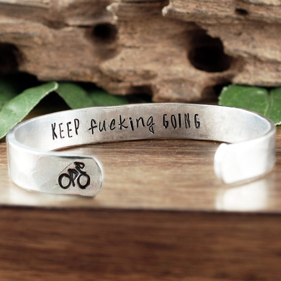 Keep Fucking Going Bracelet, Bicycle Bracelet, Bicycle Jewelry, Sports Jewelry, Bike Rider Gift, Bicycling Gift, Personalized Bracelet