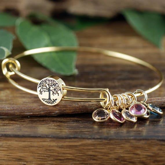 Custom family tree birthstones mom grandma living memory bracelet US shipping
