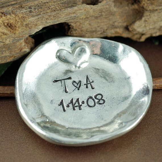 Personalized Trinket Dish, Jewelry Dish, Ring Dish, Pewter Ring Dish, Jewelry Storage, Ring Holder, Anniversary Gift, Gift for Girlfriend