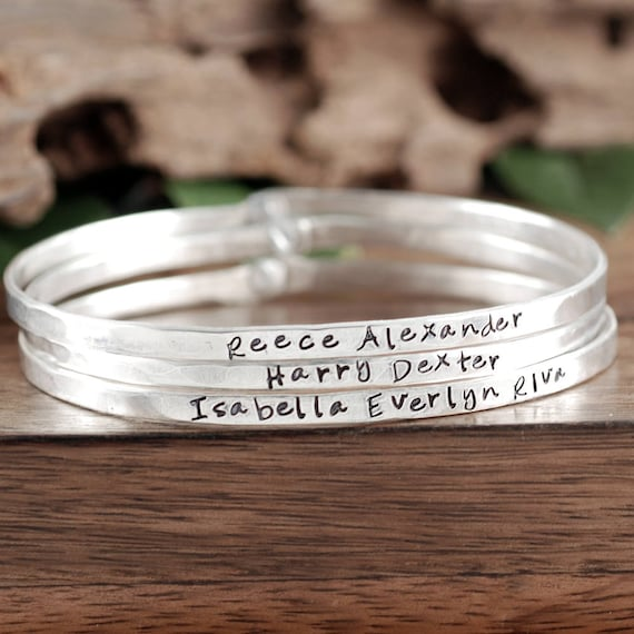 Personalized Name Bracelet, Gift for Mom, Children's name Bracelet, Custom Bangle Bracelet, Custom name Bracelet, Personalized Gift for her