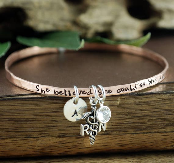 She Believed She Could So she Did Bangle Bracelet, RN Initial Bracelet, Nurse Jewelry, Graduation Gift, Gift for Graduate, Registered Nurse