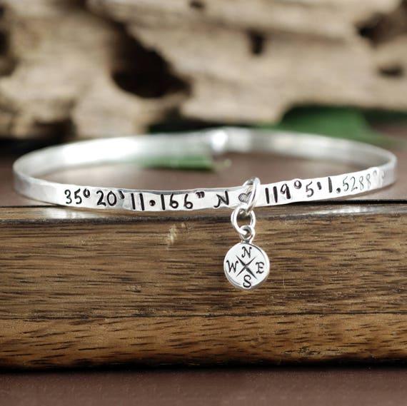 Silver Coordinate Bracelet,  Latitude Longitude Bracelet, GPS Coordinate Bracelet,Silver Bangle Bracelet, Compass Bracelet, Location Jewelry
