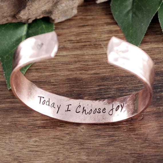 Today I choose Joy, Personalized Cuff Bracelet, Inspirational Bracelet, Quote Bracelet, Motivational Jewelry, Gift for Her, Phrase Bracelet