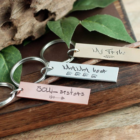 Personalized Keychains, Keychain for Mom, My Tribe Keychain, Mama Bear Keychain, Soul Sisters Keychain, Gift for Her, Engraved Keychain