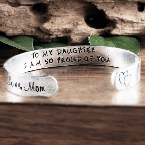 Gift for Daughter, Personalized Cuff, Daughter Bracelet, Birthday gift, Christmas gift, Gifts for her, Custom Cuffs, To my Daughter Gift