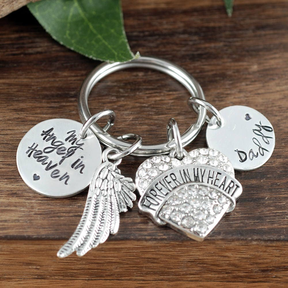 memorial key chain forever in my heart sympathy gift loss of