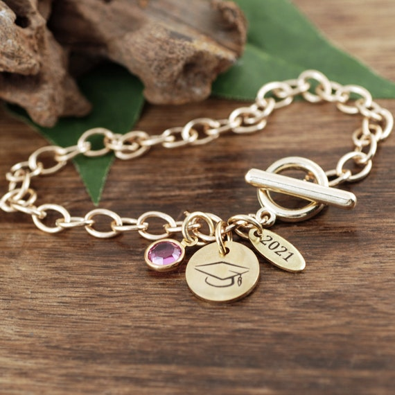 Gold Graduation Gift, Personalized Graduation Bracelet, Gifts for Graduate, College Graduate, Gift for Her, 2021 Graduation, Senior Gift