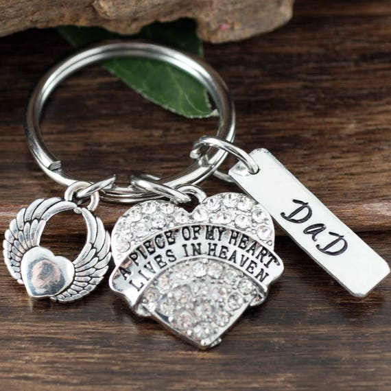Memorial Key Chain, Piece of my Heart is in Heaven, Sympathy Gift, Loss of Loved One, Bereavement Gift, Remembrance Gift, Personalized Gift