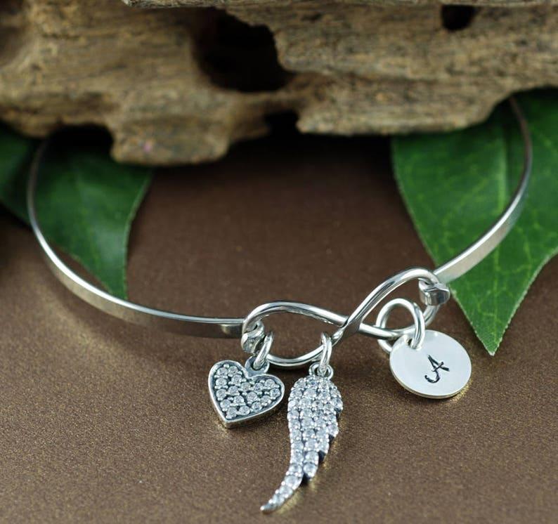 Sympathy Gift Miscarriage Bracelet Bereavement Gift Angel Wing Bracelet Loss of Father Bracelet Infinity Bracelet Memorial Bracelet