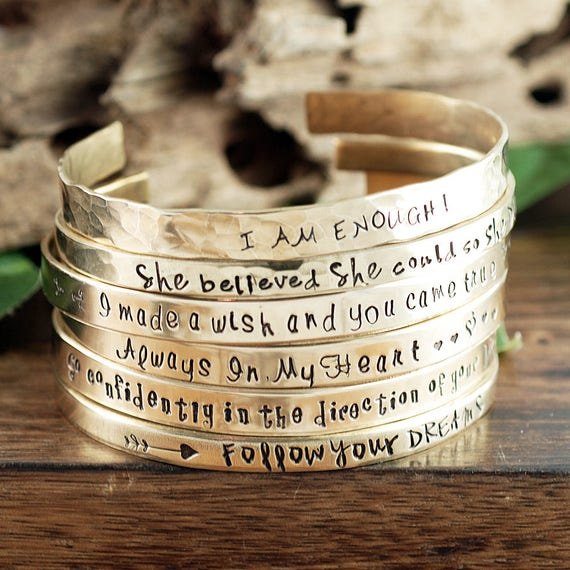 Quote Bracelet, Personalized Cuff Bracelet, Inspirational Jewelry, Inspirational Cuff Bracelet, Positive Message, Favorite Quote