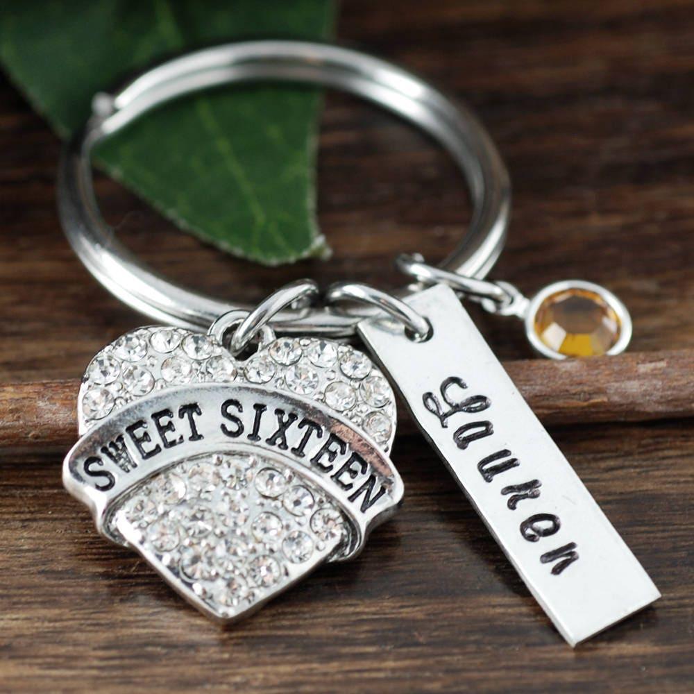 Sweet 16 Keychain, Sweet 16 Gift, Sweet 16th Birthday