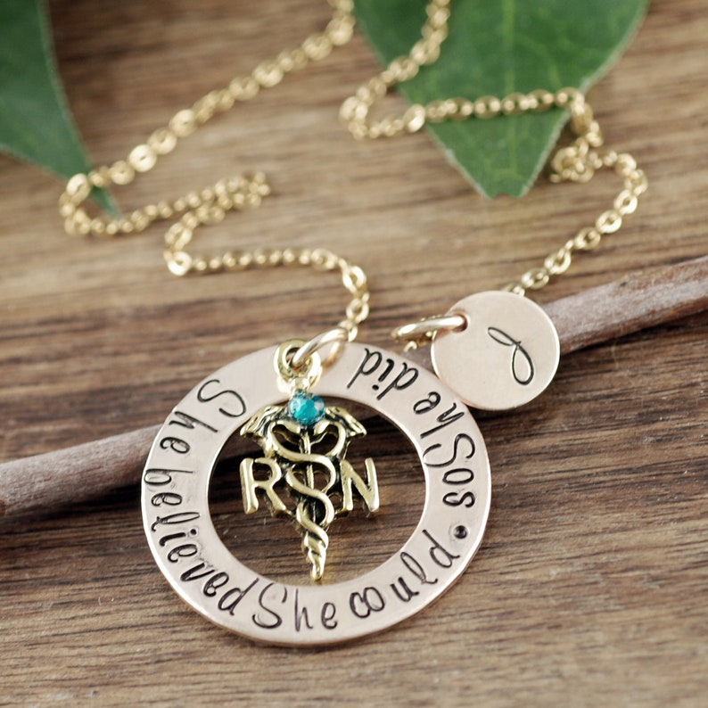 Personalized Gift for Nurse Nurse Necklace She Believed she could So she Did Graduation Gift RN Graduation Gift Nurse Graduation