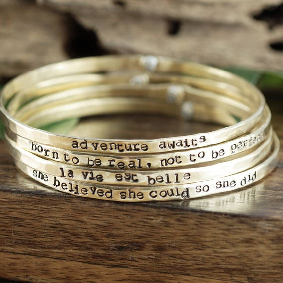 Inspirational Bangle Bracelet, Hand Stamped Motivational Jewelry, Stackable Bracelets, Motivational Bracelet, Personalized  Gift for Her