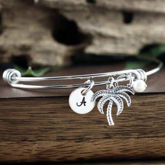 Palm Tree Bracelet, Gift for Beach Lover, Initial Charm Bracelet, Beach Jewelry, Palm Tree Charm, Summer Jewelry, Tropical Bangle Bracelet