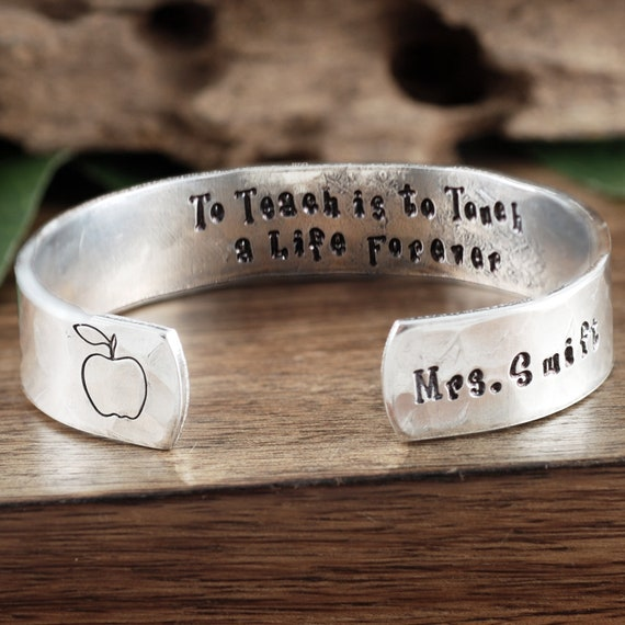 Personalized Teacher Jewelry, To Teach is to Touch a Life Forever, Teacher Gift, Teacher Appreciation, Back to School, End of School Gift