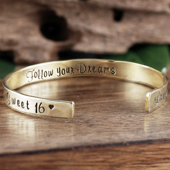 Personalized Sweet 16 Cuff Bracelet, Custom Cuff Bracelet, Sweet Sixteen Jewelry,Follow Your Dreams, Sweet 16th Birthday Gift, Sweet 16 Gift