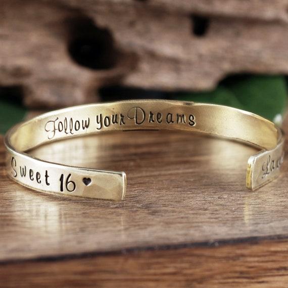 Personalized Sweet 16 Cuff Bracelet, Custom Cuff Bracelet, Sweet Sixteen Jewelry,Follow Your Dreams, Sweet 16th Birthday Gift, Sweet 16 Gift