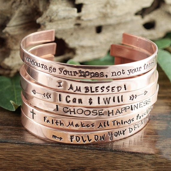 Inspirational Bracelet, I am Blessed, Personalized Cuff Bracelet, Inspirational Jewelry, Follow Your Dreams, Positive Message, Quote Jewelry