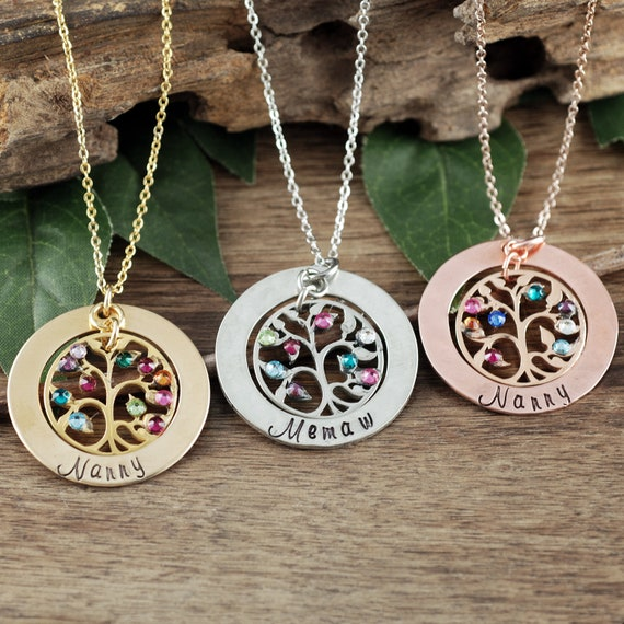 Grandmother Family Tree Birthstone Necklace, Tree of Life Necklace, for Grandma, Grandma Necklace, Gift for Grandma, Mothers Day Gift