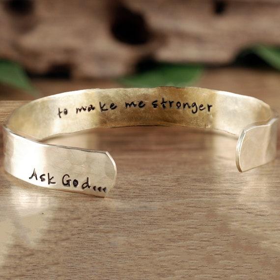 Ask God... Faith Bracelet, Believer Gift, Inspirational Cuff, Bible Verse Bracelet, Positive Bracelet, Gift for Her, Mother's Day Gift