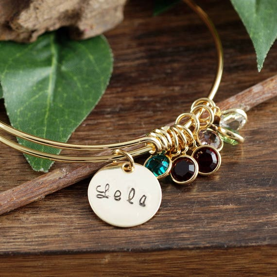Grandmother Bracelet, Personalized Birthstone Bracelet, Gold Charm Bracelet, Gold Family Bangle Bracelet, Mom Bracelet, Gift for Grandma