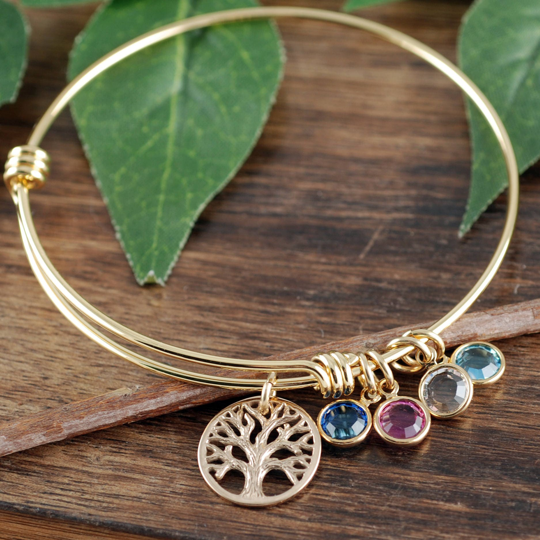 bfd1665a6c29 Gold Family Tree Bracelet with Birthstones